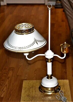 Vintage Mid Century Heavy Duty Toleware Metal Lamp and Shade Milkglass