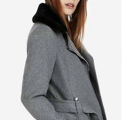 New EXPRESS Women/'s $198 Navy Blue Bell Sleeve Shawl Collar Coat Size S M L