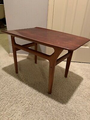 Vtg Mid Century Danish Modern Small Accent Wedge Table For Refurbishing