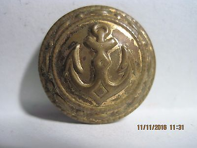 Antique 20Th Century Brass Anchor Military Style Embossed Metal Button