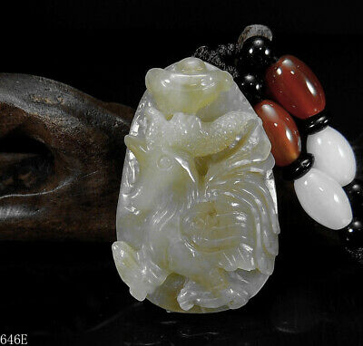 100% Natural Hand-carved Chinese Hetian Jade Pendant jadeite rooster 646e