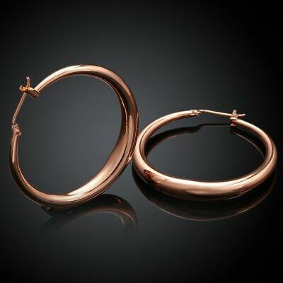 Anti Allergy Fashion Lady Round 18k Rose Gold Plated Big Hoop Earrings Women