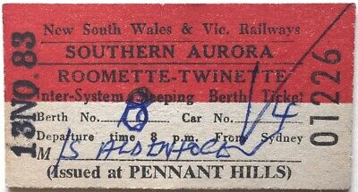 NSW/VR Ticket - SOUTHERN AURORA - Sleeping Berth (Iss. at PENNANT HILLS) - 1983
