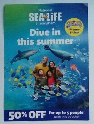 National Sealife Sea Life BIRMINGHAM 50% Off up to 5 people Discount Voucher