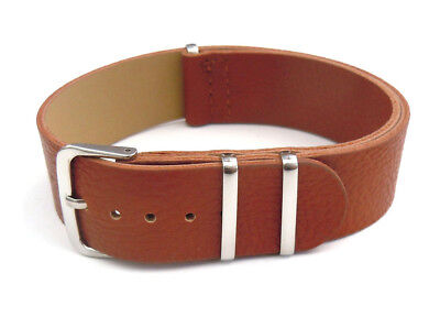 Single Long Piece Brown 22mm Leather Watch Strap