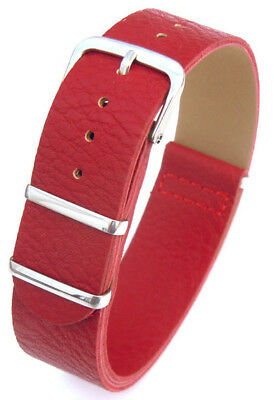 Single Long Piece 20mm Red Leather Watch Strap