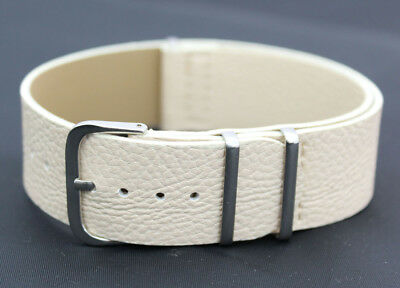 Single Long Piece 22mm White Leather Watch Strap