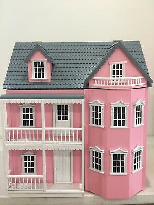 New- 3 Level Wooden Pink & White Victorian Doll House
