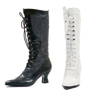 Ellie Shoes 253-REBECCA BLK 25 Heel Boot with Lace