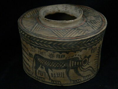 Ancient Large Size Teracotta Painted Pyxis With Lions Indus Valley 2500 BC PT201