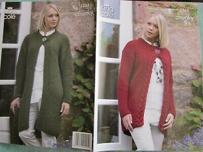 KNITTING PATTERN Ladies Moss Stitch Cable Cardigan /& Coat Chunky King Cole 3263