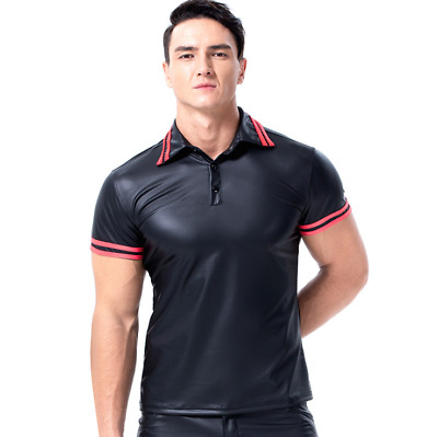Sexy Men Latex Faux leather Polo Top Shirt Exotic Tanks Stage Clubwear S-2XL