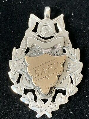 Antique Sterling Silver & Rose Gold Fob by Birm Maker William H Haseler 1908