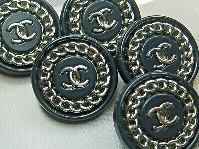 💋💋💋💋Chanel 5 cc buttons SILVER NAVY BLUE 18mm lot of 5 💋💋💋💋 A SET OF 5