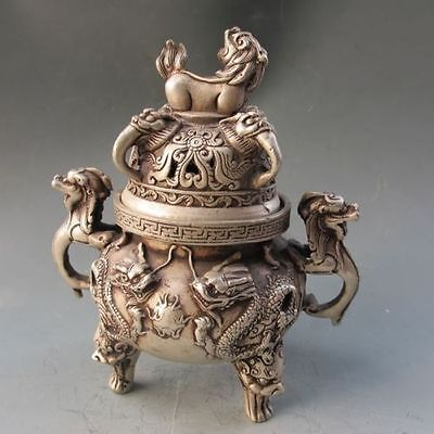 Tibetan silver hand carved Dragon Incense Burner w Ming Dynasty Xuan De Mark