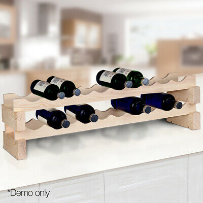 NEW 20 Bottle Capacity 2-Tier Space Saving Pine Wood Timber Wine Rack - Natural