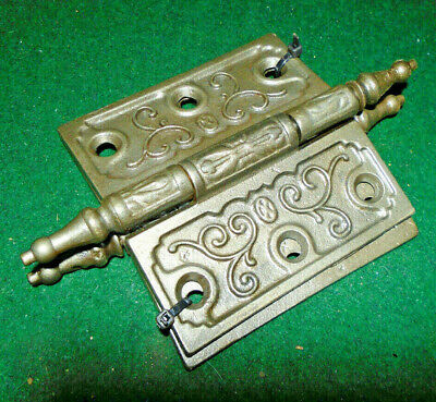Pair Vintage Eastlake Hinges  3.5  X 3.5 Steeple Top  Beautiful (13273-1)
