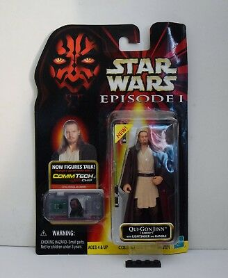 Star Wars Episode 1 Qui-Gon Jinn (Naboo) – Comm Tech – Hasbro – Sealed on Card