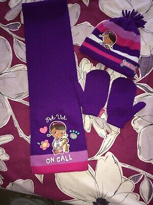 Girls Wintet Hat Scarf And Mittens Set Doc McStuffins 4-5-6 Years George