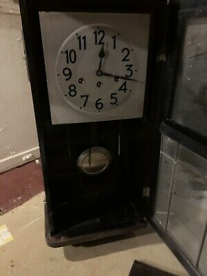 Old Antique Pendulum Wall Clock With Key