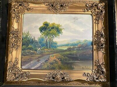"Antique E Coley ""Rural Home And Landscape Scene"" Oil Painting - Signed/Framed"