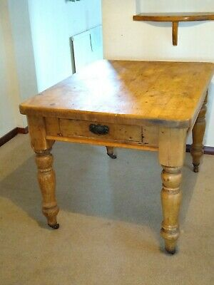 Antique Victorian Rustic Farmhouse Scrub Top Pine Table 112x82cm with Drawer
