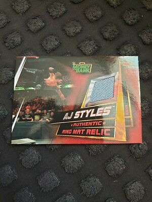 Topps Slam Attax Universe Ring Mat Relic Aj Styles Money In The Bank