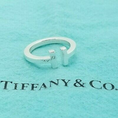 Tiffany & Co 925 Sterling Silver Bold Signature T Square Ring Band Size 7