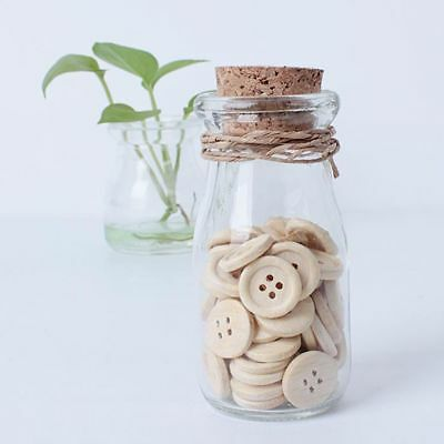 50Pcs Pattern Wood Buttons 4 Holes Sewing 15mm 18mm 25mm Round Shape DIY Craft