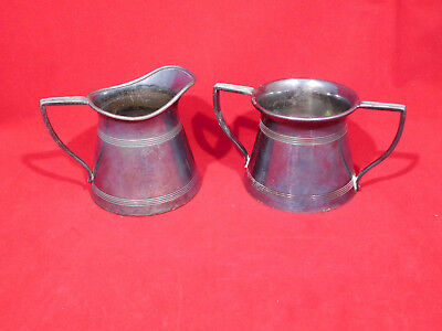 Antique Forbes Silver Plate Co. Cream & Sugar Bowl Set #1023