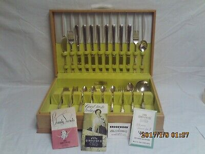 1881 Rogers Silver Brookwood 1950s 55 PC Silver Plated Dinner Ware Set W/ Box