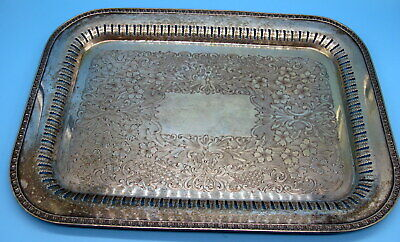 """Antique """"Excelsior""""  Silver on Copper large serving tray."""