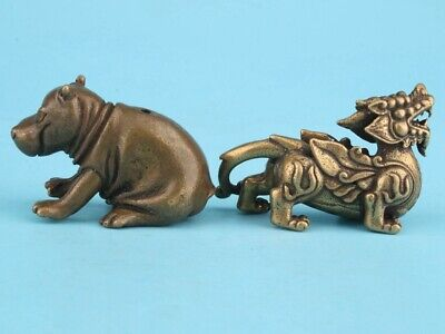 Rare China Brass Hand-Carved Rhino Kirin Statue Figurine Old Collection