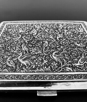 Antique hand engraved Persian Islamic Arabic cigarette case 151 gr