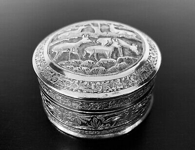 Antique hand engraved Persian islamic Arabic round box 117 gr