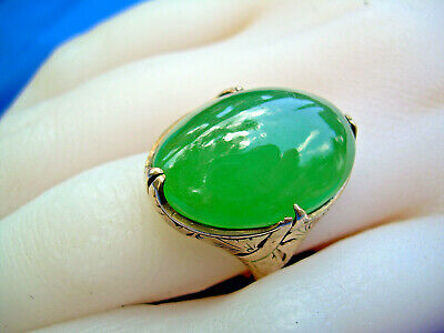 Deco Antique old Imperial green color Jadeite Jade Engagement ring 20k Rose Gold