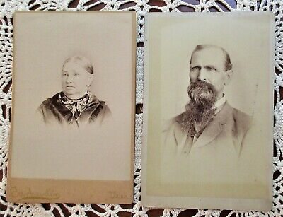 Antique photo / cabinet cards,1800's,elderly man and woman,Ukiah,Ca/Granville,Oh