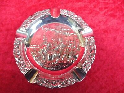 Very Beautiful, Old Ashtray__Relief__Silver Plated __