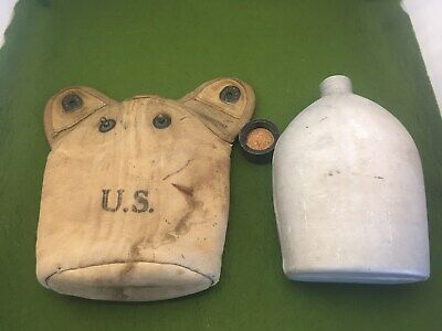 Lot WW2 US Army  1945 A M G  Canteen  KEMPER thomas 1918  COVER ww1