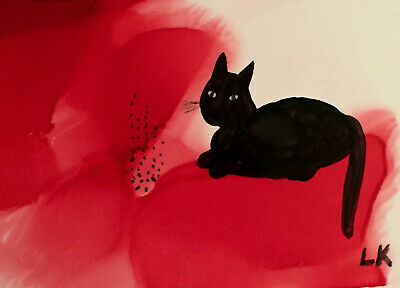 """ACEO black cat sitting on red Original painting by Lynne Kohler 2.5x3.5"""""""