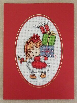 Large Completed Cross Stitch Card -Tinkerbell Carrying Presents
