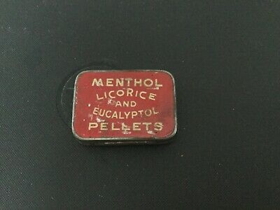 Antique HELPS Menthol National Licorice Co. Eucalyptol PELLETS Hinged Tin