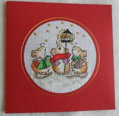 Completed Christmas Cross Stitch Card. Margaret Sherry Design
