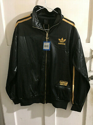 Adidas Mens Black Tracksuit Top Chlie 62 Size L and M Asian sizes