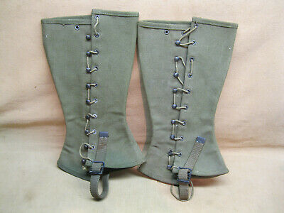 WWII US Army M 1938 9 Hook Leggings Dismounted with Tags Dated 1943 Size 2R NICE