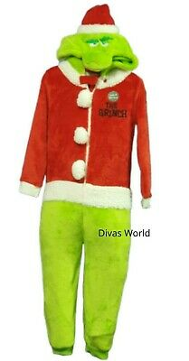 The Grinch Kids Sleepsuit Boys Girls Christmas Nightwear All in One Pj's Primark