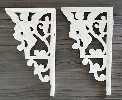 Large Pair Vintage Cast Iron Toilet Shelf Cherub Brackets Bathroom Supports