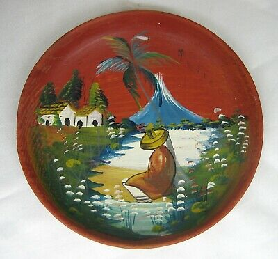 Vintage Mexican Hand Painted Bateo Small Round Tray