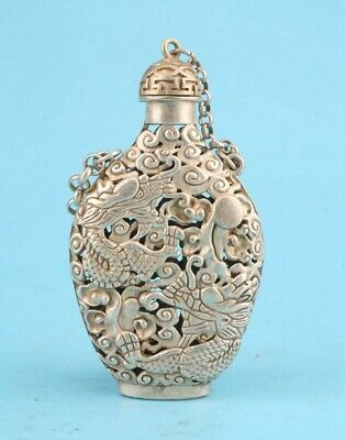 Retro China Tibetan Silver Snuff Bottle Statue Hollow Dragon Mascot Gift Old