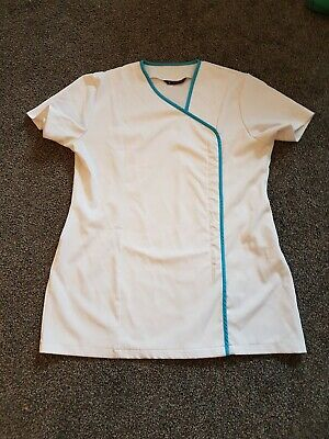 white SALON TUNIC with teal trim  Size 18 ***excellent condition***